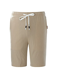 cheap -Men's Linen Shorts Pants - Solid Colored / Beach