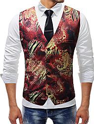 cheap -Men's Basic Vest - Solid Colored / Floral / Botanical