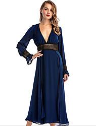cheap -Women's Chiffon Dress - Solid Colored Maxi Deep V