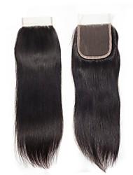 Недорогие -Fulgent  Sun Перуанские волосы 4x4 Закрытие Прямой Бесплатный Часть Китайский Кружева Натуральные волосы Жен. Лучшее качество / Горячая распродажа / Кружевное закрытие