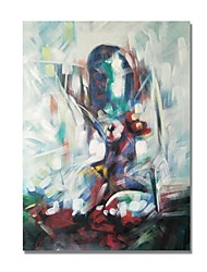 cheap -STYLEDECOR Modern Hand Painted Abstract Naked Sit Lady on Canvas Oil Painting for Wall Art