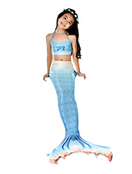 cheap -The Little Mermaid Swimwear / Bikini / Costume Girls' Halloween / Carnival Festival / Holiday Halloween Costumes Ink Blue Mermaid Vintage
