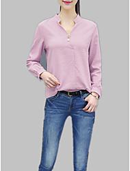 baratos -Mulheres Camiseta Sólido / Listrado Colarinho Chinês