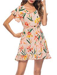 Недорогие -Жен. Оболочка Платье V-образный вырез Выше колена