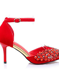 economico -Per donna Scarpe Scamosciato Primavera / Autunno Comoda / Decolleté scarpe da sposa A stiletto Nero / Rosso / Matrimonio