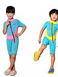 baratos -Dive&Sail Para Meninos / Para Meninas Macacão de Mergulho Curto 2.5mm Roupas de Mergulho Manga Curta Outono / Primavera / Verão / Com Stretch