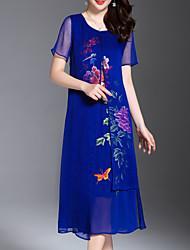 povoljno -Žene Osnovni Korice Haljina Jednobojni / Cvjetni print Midi