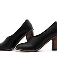 preiswerte -Damen Schuhe Leder Sommer Pumps High Heels Blockabsatz Schwarz / Beige