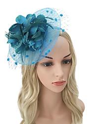 baratos -Mulheres Vintage / Elegante Bandana / Presilha de Cabelo / Fascinador - Flor / Com Transparência Sólido