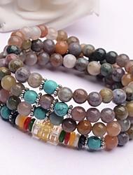 cheap -Women's Agate Vintage Style / Beads Strand Bracelet / Wrap Bracelet - Buddha, Flower Shape Classic, Vintage, Folk Style Bracelet Rainbow For Daily / Festival