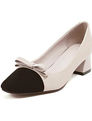 cheap -Women's Shoes Nappa Leather Spring Comfort / Basic Pump Heels Chunky Heel Light Grey / Almond