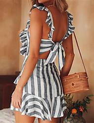 baratos -Mulheres Básico / Moda de Rua Delgado Calças - Listrado Frente Única Cintura Alta Cinzento / Mini / Decote Quadrado / Para Noite / Sexy
