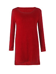 Недорогие -Жен. Большие размеры Классический Тонкие Трикотаж Платье - Однотонный Цветочный принт Выше колена / Сексуальные платья