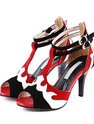 abordables -Mujer Zapatos Piel de Oveja Verano Confort / Pump Básico Sandalias Tacón Stiletto Rojo