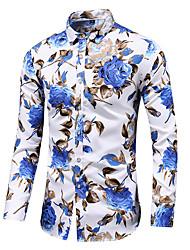 Недорогие -Муж. Большие размеры - Рубашка Хлопок Цветочный принт / Длинный рукав