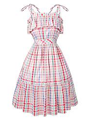 baratos -Mulheres Tamanhos Grandes Algodão Reto Vestido Altura dos Joelhos