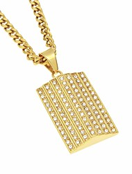 cheap -Men's AAA Cubic Zirconia Stylish Pendant Necklace - Gold Plated, Stainless Stylish, Trendy, Hip-Hop Gold 70 cm Necklace 1pc For Date, Street