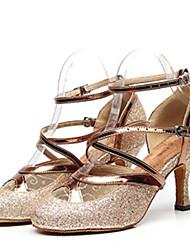 Недорогие -Жен. Обувь для модерна Полиуретан Кроссовки Тонкий высокий каблук Танцевальная обувь Золотой / Черный / Серебряный