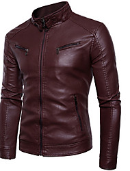 Недорогие -мужская кожаная куртка pu - сплошной цвет