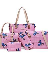 baratos -Mulheres Bolsas PU Conjuntos de saco Ziper / Com Relevo Preto / Vermelho / Rosa