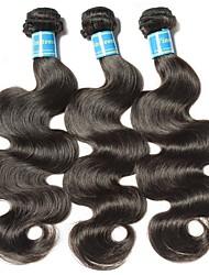 Недорогие -3 Связки Бразильские волосы Естественные кудри 10A Не подвергавшиеся окрашиванию Человека ткет Волосы 8-28 дюймовый Ткет человеческих волос Машинное плетение Лучшее качество 100% девственница