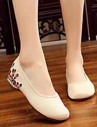 Недорогие -Жен. Полотно Лето Удобная обувь / Балетки На плокой подошве На низком каблуке Белый / Черный