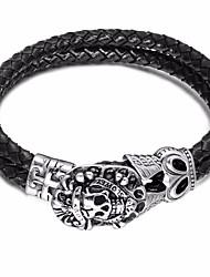 baratos -Homens Fashion / Entrançado tear Bracelet - Inoxidável Cruz, Caveira Estiloso, Europeu, Na moda Pulseiras Preto Para Rua / Bagels