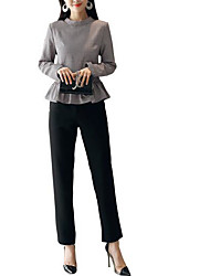 abordables -Mujer Chic de Calle Conjunto - A Cuadros Pantalón
