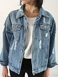 Недорогие -Жен. Повседневные Классический Обычная Джинсовая куртка, Однотонный Рубашечный воротник Длинный рукав Полиэстер Синий S / M / L