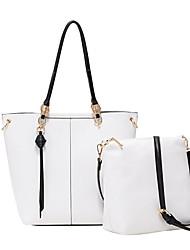 baratos -Mulheres Bolsas PU Conjuntos de saco 2 Pcs Purse Set Ziper Preto / Branco Leite