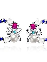 abordables -Mujer Perlas de agua dulce Lámparas Araña Pendients de aro - Chapado en Oro Moda Blanco Para Fiesta / Diario