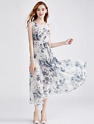 cheap -Women's Basic / Street chic A Line / Sheath / Swing Dress Lace up / Print