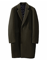 cheap -Men's Long Coat - Solid Colored / Long Sleeve