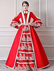 cheap -Fairytale / Santa Suit Renaissance Costume Women's Dress / Outfits / Party Costume Red / White Vintage Cosplay Polyster 3/4 Length Sleeve Puff / Balloon Sleeve