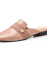 cheap -Women's Shoes Nappa Leather Spring & Summer Slingback Clogs & Mules Low Heel Round Toe Imitation Pearl Black / Light Pink
