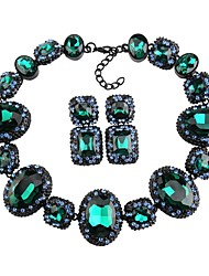 cheap -Women's Crystal Thick Chain / Hollow Jewelry Set - Flower, Blessed Statement, Luxury, Geometric Include Stud Earrings / Choker Necklace / Statement Necklace Red / Green / Blue For Wedding / Party