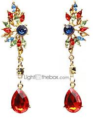 baratos -Mulheres Cristal Lustres Brincos Compridos - Zircônia Cubica, Imitações de Diamante Vermelho / Verde Para