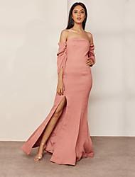 baratos -Mulheres Moda de Rua / Sofisticado Bainha / balanço Vestido - Fenda, Sólido Longo