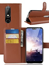 cheap -Case For Nokia Nokia 5.1 / Nokia X6 Wallet / Card Holder / Flip Full Body Cases Solid Colored Hard PU Leather for Nokia 8 / Nokia 8 Sirocco / Nokia 7