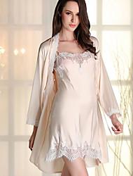 baratos -Mulheres Decote em V Profundo Cetim & Renda / Super Sensual Pijamas Sólido