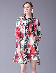 preiswerte -Damen Grundlegend / Chinoiserie Set - Blumen Kleid / Mini / Sommer / Arbeit / Blumenmuster