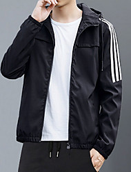 cheap -Men's Trench Coat - Striped Hooded / Long Sleeve