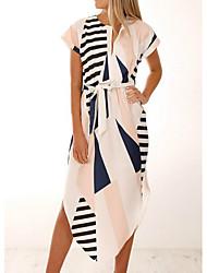 Недорогие -Жен. На выход Тонкие А-силуэт Платье V-образный вырез Средней длины