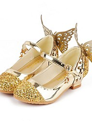 cheap -Girls' Shoes Faux Leather Spring / Fall Flower Girl Shoes Heels Sequin / Tassel for Kids Silver / Blue / Pink