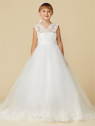 cheap -Princess Court Train Flower Girl Dress - Lace / Tulle Sleeveless V Neck with Appliques / Sash / Ribbon by LAN TING BRIDE®