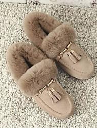 baratos -Mulheres Sapatos Camurça Inverno Conforto Chinelos e flip-flops Sem Salto Preto / Marron / Amêndoa