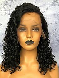 Недорогие -Remy Лента спереди Парик Бразильские волосы Кудрявый Парик 150% Плотность волос с детскими волосами Природные волосы Парик в афро-американском стиле Жен. Короткие