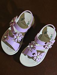 Недорогие -Девочки Обувь Полиуретан Весна лето Детская праздничная обувь Сандалии Цветы для Дети (1-4 лет) Белый / Светло-лиловый / Розовый