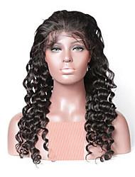 Недорогие -Remy Полностью ленточные Парик Бразильские волосы Волнистый Парик 130% Природные волосы / С отбеленными узлами Жен. Длинные Парики из натуральных волос на кружевной основе