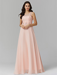 cheap -Sheath / Column Illusion Neck Floor Length Chiffon / Corded Lace Keyhole Prom / Formal Evening Dress with Beading / Appliques by TS Couture®